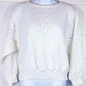 Vintage 80s Yessica White Knit & Lace Sweater